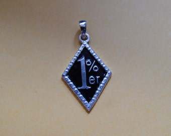1% ER Pendant for Harley Davidson Biker 925 Silver Pendant with black enamel