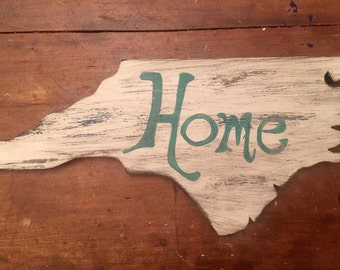 White distressed nc home cutout