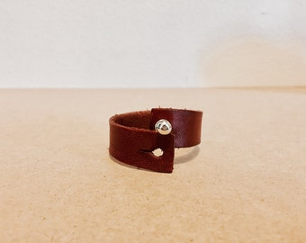 Leather Button Stud Bracelet