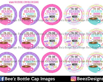 33% off SALE- INSTANT DOWNLOAD- I'm the reason- 1 inch Bottlecap Images- 4x6 Digital Collage Sheet