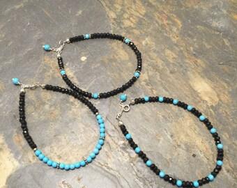 Black Spinel and turquoise color beads Bracelet Set