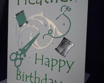 Sew Happy Card, bespoke, personalised,birthday,greeting card