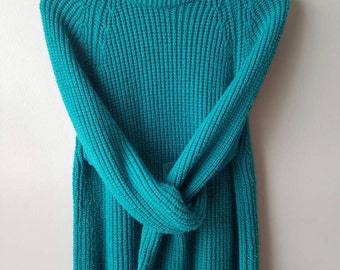 Vintage 80s / unisex / teal / sweater / sz Large / women / men / oversized / knit / hipster / preppy