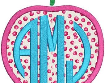 Apple Monogram Applique Embroidery Design 3 size instant download