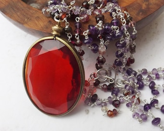Big red glass pendant, vintage glass, 1950s glass, berry gemstone necklace, sterling silver, amethyst and garnet, something special