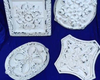 Shabby Chic set of 4 wall plaques