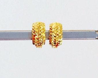 Solid 22k gold diamond cut huggies wrap earrings 916 gold