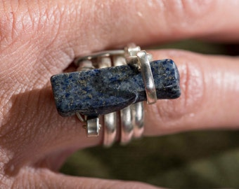 lapis lazuli ring, hand made lapis lazuli ring, lapis lazuli jewelery,
