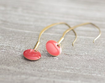 Earrings long thin golden bronze red coral