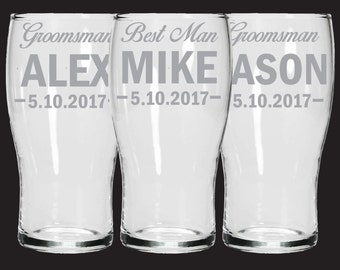 Personalised etched Groomsman wedding glasses - Custom personalised set of 3 Pint glasses - Groomsman gifts - permanently etched - engraved