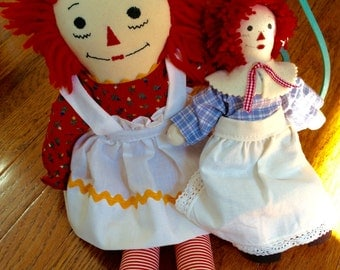 Vintage Toys Handmade Raggedy Ann Dolls Big and Small Collectible Dolls Nostalgic Toys Rag Dolls