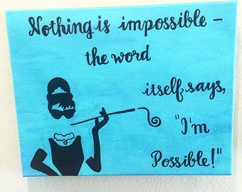 """Blue Handmade Painting Audrey Hepburn """"Nothing is Impossible"""" Breakfast at Tiffany's"""