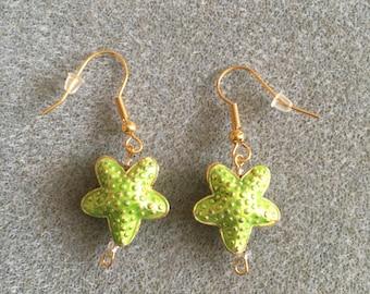 green starfish earrings