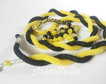 "Harness-beaded lariat ""Yellow Beautiful"""