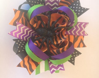 Custom Boutique Halloween Stacked Hair Bow HUGE!