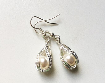 Caged Pearl Silver Plated Earrings