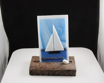 4 inch fused glass sailboat tile on natural wood base
