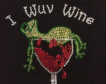 I Wuv Wine Bling Rhinestone Frog T Shirt Or Tank Top