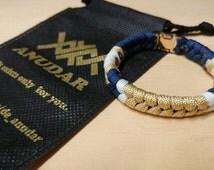 ANUDAR-Fishtail Pattern Gold Edition Paracord Bracelet-NAVY