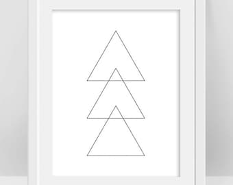 Triangle Shapes Poster, Triangle Art, Three Triangles Geometric Art Print, Shape Outline Minimalist Design, Sacred Geometry Contemporary Art
