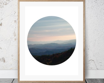 Blue Ridge Mountains, Circle Art, Digital Download, Sunset
