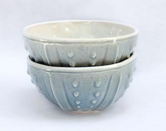 Celadon porcelain bowls - set of 2 sea urchin ceramic pottery handmade bowls