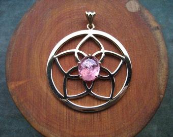 Mandala pendant gold and pink tourmaline