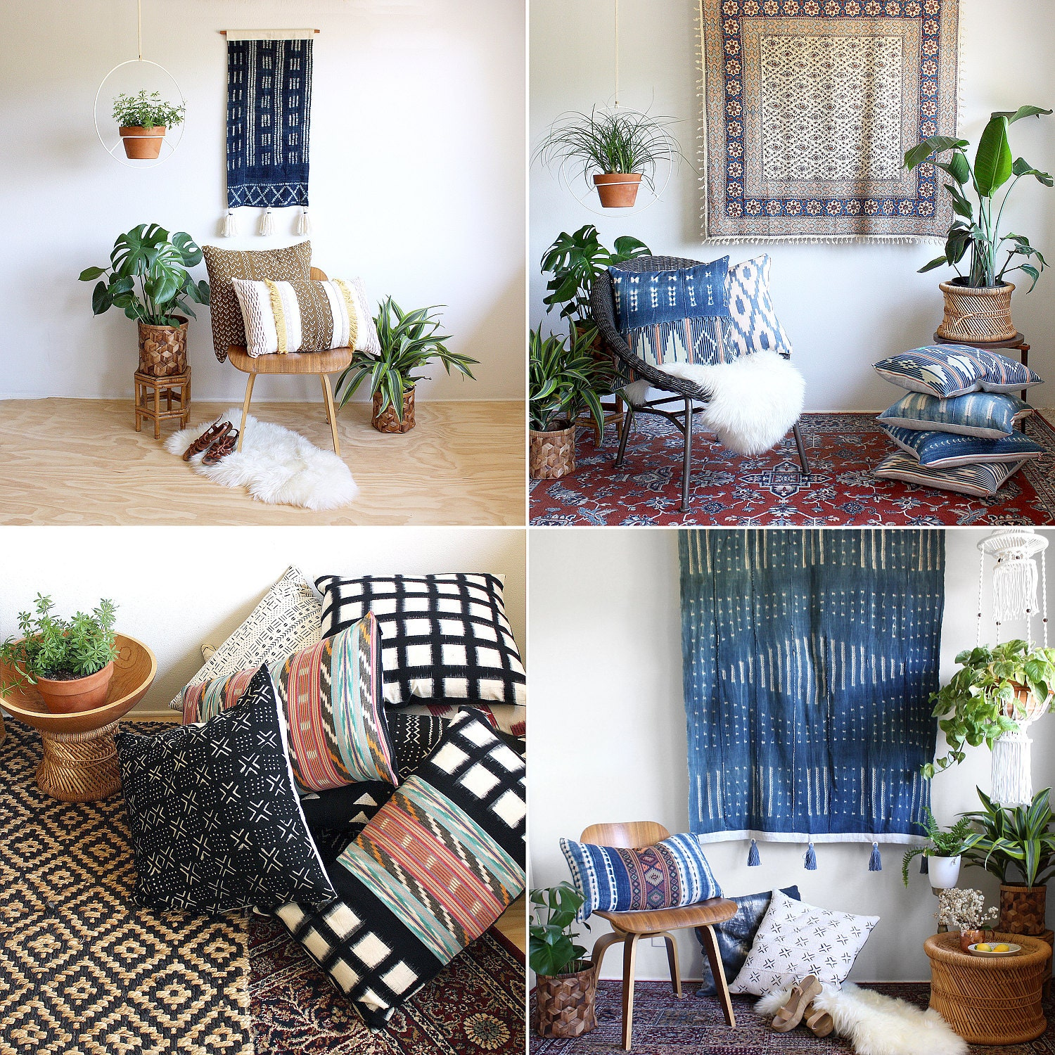 Mud cloth pillows and mud cloth wall hangings