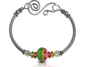 Watermelon Sterling Silver Bracelet, Gift for Teens, Gift for Her, Layering Jewelry, Birthday Gift, Silver Jewelry