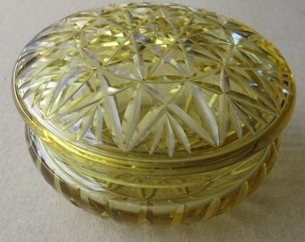 Czechoslovakia 1920s Cut Crystal Yellow Glass Dresser Jar