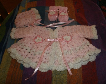 Preemie Pink Sweater,Bonnet and Booties Set