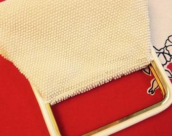 50's Corde White Bead Handbag.