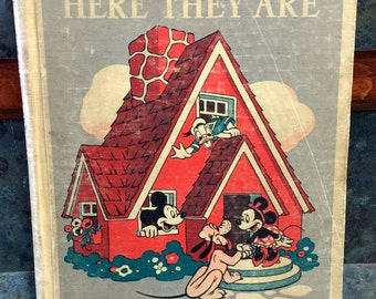 """1940 Mickey Mouse Reader First Edition """"Here They Are"""" Illustrated by Walt Disney Studio Told by Ardra Wavle"""