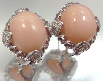 14k White Gold Angel Skin Coral and Diamonds Pierced Earrings