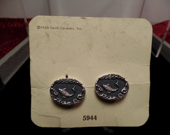 "Sarah Coventry ""Game Fish"" Cuff Links on Original Card-1960"