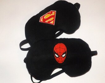 Set of 2 Sleep Masks - Spider Man & Super Man Emblems - Comes as Shown - Handmade - Fits Kids to Adults