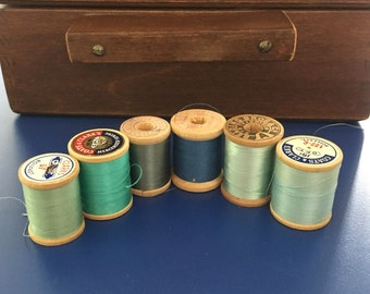 Vintage Thread lot of 6 wooden spools in blues and greens, vintage thread, wooden spools