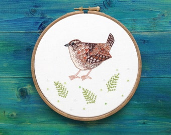 Handstitched Wren Bird Embroidery, Framed in an Embroidery Hoop