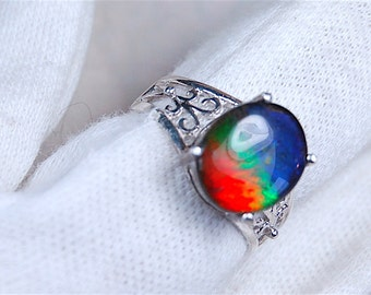 Ammolite Jewelry Ring.Spectacular grade AA set in Sterling Silver.#082516