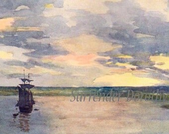 Sunset On The Paraguay River A S Forrest  1910 Original Vintage Edwardian Watercolor Lithograph To Frame