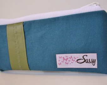 Blue Canvas Fabric Makeup Bag, Small Size Cosmetic Bag, Travel Make up Bag, Lined Makeup Bag