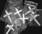 925 Sterling Silver Flat Cross Pendants with Bail _ lot of 7