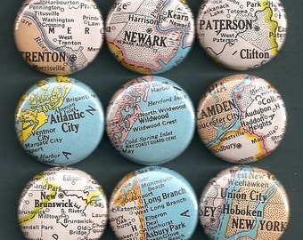 One Inch Magnet Set - Vintage New Jersey Map - One of a kind set