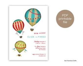 Vintage Hot Air Balloon Birthday Invitation | Printable Invite - PDF File