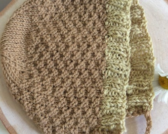 Baby Hat Bonnet Hand Knit Soft Wool Newborn to Six Months