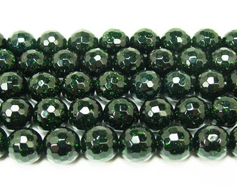 Green Goldstone Faceted Beads