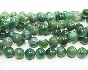 Moss Opal Round Gemstone Beads