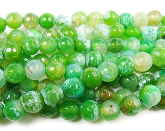 Forest Green Fire Agate Faceted Gemstone Beads