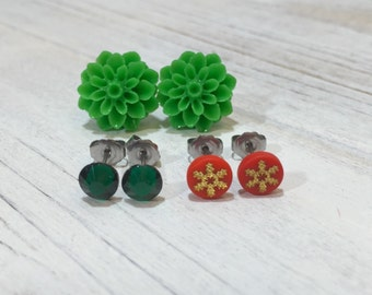 Stud Earring Set, Christmas Earrings, Christmas Gift Set, Green Mum Studs, Red Gold Snowflake Studs, Green Crystal Studs, Stocking Stuffer