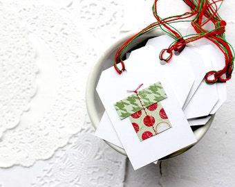 Christmas Gift Tags, Holiday Tags Set of 8, Embellished Christmas Tags